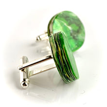 Load image into Gallery viewer, Round Green Cufflinks with brass findings