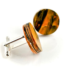 Load image into Gallery viewer, Round Orange Cufflinks with brass findings