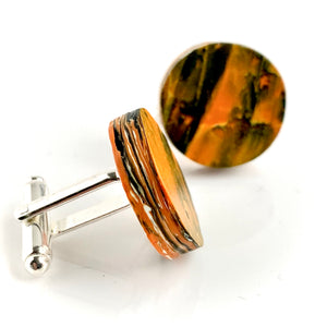 Round Orange Cufflinks with brass findings