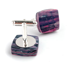 Square  Pink Cufflinks with brass findings