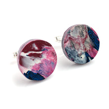 Load image into Gallery viewer, Round Pink Cufflinks with brass findings