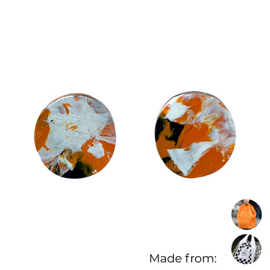 Orange Circle Studs Earrings with Sterling Silver 925 findings