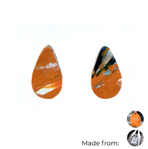 Orange Teardrop Studs Earrings with Sterling Silver 925 findings