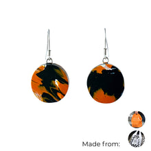 Load image into Gallery viewer, Orange Circle Dangle Earrings with Sterling Silver 925 fish hook wire