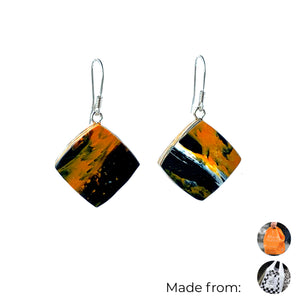 Orange Dimond Dangle Earrings with Sterling Silver 925 fish hook wire