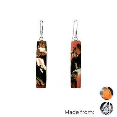 Orange Bar Dangle Earrings with Sterling Silver 925 fish hook wire