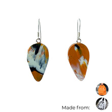Load image into Gallery viewer, Orange Revers Teardrop Dangle Earrings with Sterling Silver 925 fish hook wire