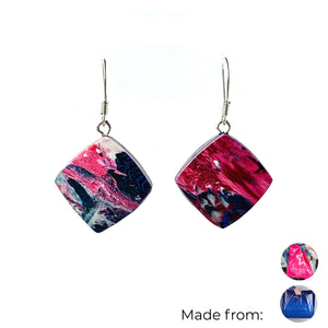 Pink Dimond Dangle Earrings with Sterling Silver 925 fish hook wire