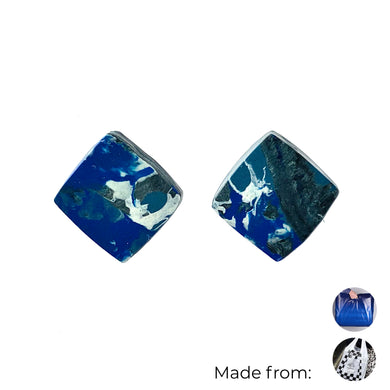 Navy Blue Square Studs Earrings with Sterling Silver 925 findings