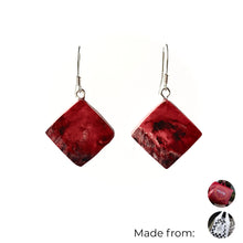 Load image into Gallery viewer, Red Dimond Dangle Earrings with Sterling Silver 925 fish hook wire