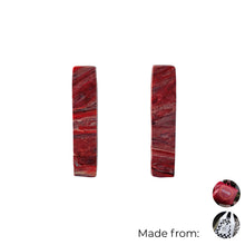Load image into Gallery viewer, Red Rectangle Studs Earrings with Sterling Silver 925 findings