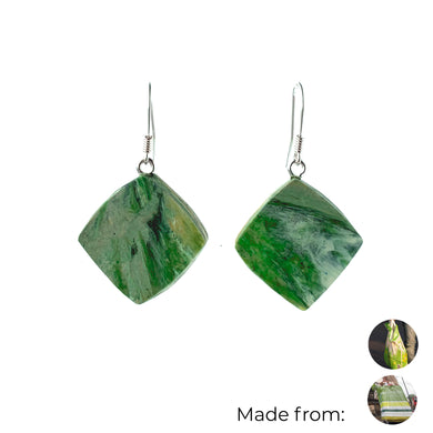 Green Dimond Dangle Earrings with Sterling Silver 925 fish hook wire