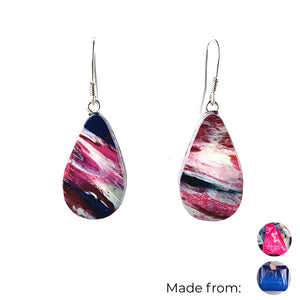 Pink Teardrop Dangle Earrings with Sterling Silver 925 fish hook wire