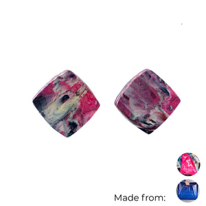 Pink Square Studs Earrings with Sterling Silver 925 findings