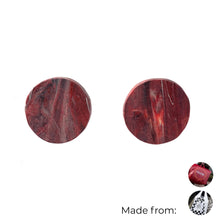 Load image into Gallery viewer, Red Circle Studs Earrings with Sterling Silver 925 findings