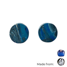 Load image into Gallery viewer, Navy Blue Circle Studs Earrings with Sterling Silver 925 findings