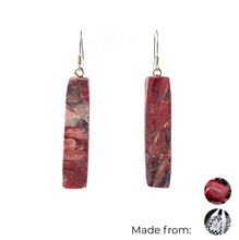 Load image into Gallery viewer, Red Bar Dangle Earrings with Sterling Silver 925 fish hook wire