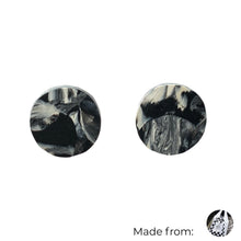 Load image into Gallery viewer, Black & White Circle Studs Earrings with Sterling Silver 925 findings
