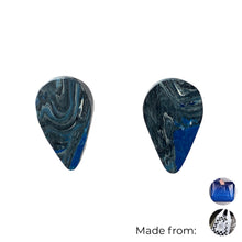 Load image into Gallery viewer, Navy Blue Revers Teardrop Studs Earrings with Sterling Silver 925 findings