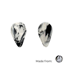 Load image into Gallery viewer, Black & White Revers Teardrop Studs Earrings with Sterling Silver 925 findings