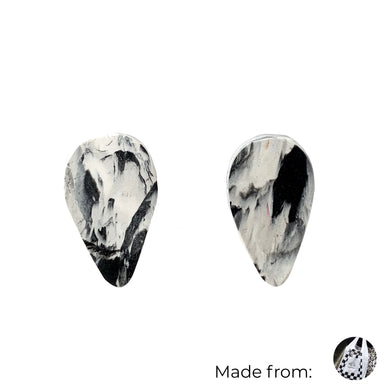 Black & White Revers Teardrop Studs Earrings with Sterling Silver 925 findings