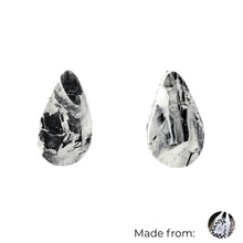 Load image into Gallery viewer, Black & White Teardrop Studs Earrings with Sterling Silver 925 findings