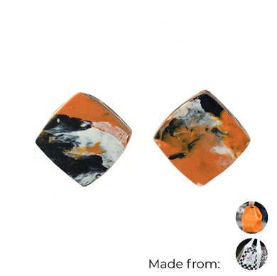 Orange Square Studs Earrings with Sterling Silver 925 findings