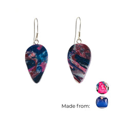Load image into Gallery viewer, Pink Revers Teardrop Dangle Earrings with Sterling Silver 925 fish hook wire