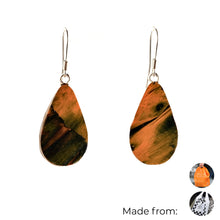 Load image into Gallery viewer, Orange Teardrop Dangle Earrings with Sterling Silver 925 fish hook wire
