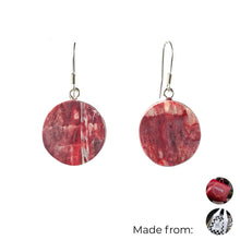 Load image into Gallery viewer, Red Circle Dangle Earrings with Sterling Silver 925 fish hook wire