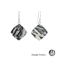 Load image into Gallery viewer, Black & White Dimond Dangle Earrings with Sterling Silver 925 fish hook wire