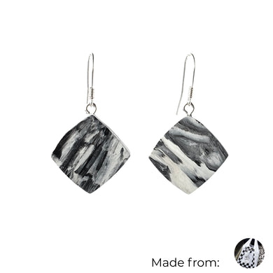 Black & White Dimond Dangle Earrings with Sterling Silver 925 fish hook wire