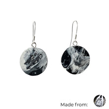 Load image into Gallery viewer, Black & White Circle Dangle Earrings with Sterling Silver 925 fish hook wire