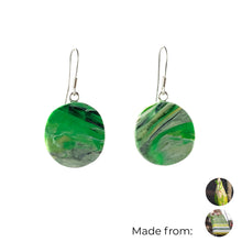 Load image into Gallery viewer, Green Circle Dangle Earrings with Sterling Silver 925 fish hook wire