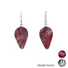 Load image into Gallery viewer, Red Revers Teardrop Dangle Earrings with Sterling Silver 925 fish hook wire