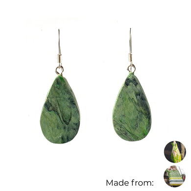 Green Teardrop Dangle Earrings with Sterling Silver 925 fish hook wire