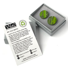 Load image into Gallery viewer, Green Circle Studs Earrings with Sterling Silver 925 findings
