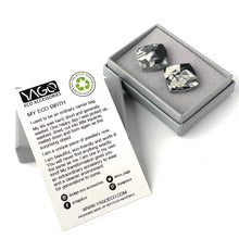Load image into Gallery viewer, Black & White Square Studs Earrings with Sterling Silver 925 findings