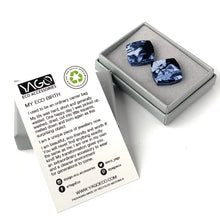 Load image into Gallery viewer, Navy Blue Square Studs Earrings with Sterling Silver 925 findings