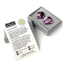 Load image into Gallery viewer, Pink Square Studs Earrings with Sterling Silver 925 findings