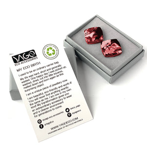 Red Square Studs Earrings with Sterling Silver 925 findings
