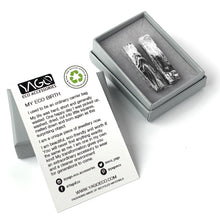 Load image into Gallery viewer, Black & White Rectangle Studs Earrings with Sterling Silver 925 findings