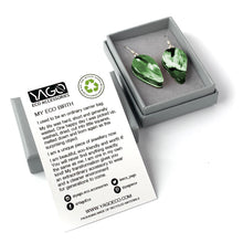 Load image into Gallery viewer, Green Revers Teardrop Dangle Earrings with Sterling Silver 925 fish hook wire