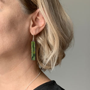 Green Bar Dangle Earrings with Sterling Silver 925 fish hook wire