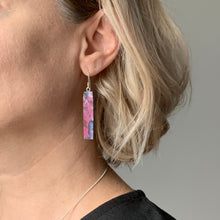 Load image into Gallery viewer, Pink Bar Dangle Earrings with Sterling Silver 925 fish hook wire