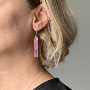 Pink Bar Dangle Earrings with Sterling Silver 925 fish hook wire