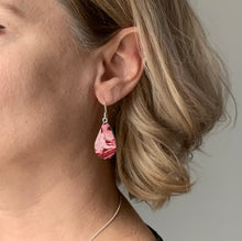 Load image into Gallery viewer, Red Teardrop Dangle Earrings with Sterling Silver 925 fish hook wire