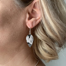 Load image into Gallery viewer, Black & White Revers Teardrop Dangle Earrings with Sterling Silver 925 fish hook wire