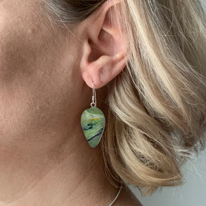Green Revers Teardrop Dangle Earrings with Sterling Silver 925 fish hook wire