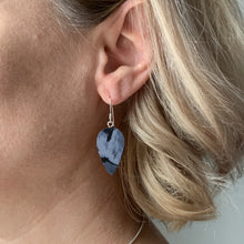 Load image into Gallery viewer, Navy Blue Revers Teardrop Dangle Earrings with Sterling Silver 925 fish hook wire